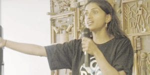 Saru Jayaraman, author and co-founder of the Restauraunt Opportunities Centers United (ROC), spoke at a rally Oct. 27 at Southwestern High School.
