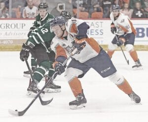 Flint's Jake Durham netted his fourth goal of the season in Saturday's loss to Ottawa. Photo courtesy Flint Firebirds