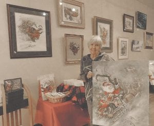 Prolific watercolorist Peggy Abrams will show and sell items from her private collection during the annual Christmas at the Gallery sponsored by the Swartz Creek Area Art Guild through Dec. 15. Photo by Lania Rocha