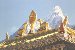 A photo Rita Lang took of the Tengboche Temple with the Annapurna Mountain in the background.