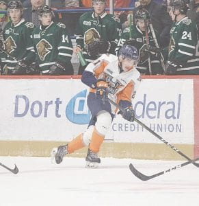 Flint's Jacob Winterton notched the first goal in Sunday's victory over Kingston. Photo by Todd Boone/Flint Firebirds