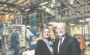 View Newspaper Group Publisher Wes Smith stands with Tri-County Times General Manager Jennifer Ward at Michigan Web Press in Davisburg. The Times was acquired from the Rockman family and is now part of the View Newspaper Group effective Jan. 1. Photo by Tim Jagielo