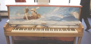 The piano donated to Bishop International Airport by the Flint School of Performing Arts. The piano was painted by Flint artist Isiah Lattimore.