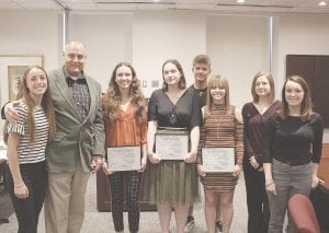 Contestants of the 2019 Gleason Community Fund Organ Donation Essay contest, from left: Emma Ford, Genesee County Clerk John Gleason, Kaylee Czyzio, Melina Smith, Dominick Carvounis, Hailey O'Malley; Ayla Piggott and Alaina Strauss. Photo by Gary Gould