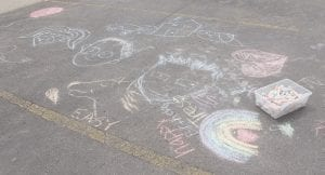Also, there was an opportunity to make huge bubbles, like this, and some kids made chalk drawings on the pavement.
