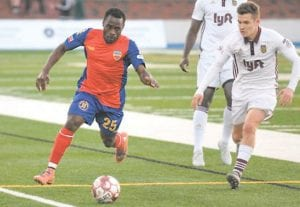 Flint's Ayuk Tambe was named Man of the Match Saturday after scoring goal and assisting on another. Photo courtesy Flint City Bucks