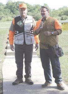 Genesee County Clerk John Gleason, left, with U.S. Sen. Gary Peters prior to the start of the Clay Shoot, June 14. Photos by Gary Gould