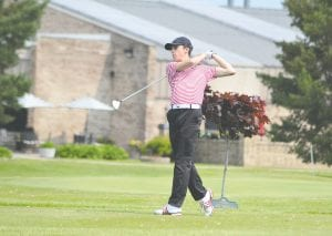 Grand Blanc's Ashton Gaulin, shown here during the Div. 1 regional at Davison Country Club on May 31, took home top boys' honors during the first FJGA event of the season last Monday.