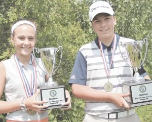 Kate Brody of Grand Blanc (left) and Ieuan Jones of Ann Arbor, win GAM 14-and-under match play titles.