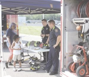 Flint Township firefighters were on hand at the HAP Health and Fun Fair to talk about fire safety and to display their fire trucks and equipment.