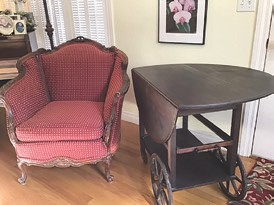 Victorian Couch and Chair. Carved Wood w/ Burgundy Fabric. Antique/Original Tea Cart. Drop-Leaf w/Glass Tray. 810-938-1415
