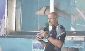One of the fair's new attractions was a Live Shark Encounter, which featured a 9,000-gallon tank full of circling nurse sharks and a diver brave enough to swim with them.