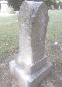 The Todd family monument in Cronk Cemetery was one of the first to be cleaned by Jean Herta and Karen Barnes. The before-and-after photos show the dramatic difference after being cleaned with D/2 Biological Solution. Photos provided by Kathy Funk