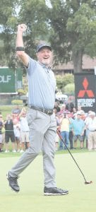 Jerry Kelly pumps his fist after winning the second annual The Ally Challenge at Warwick Hills Golf and Country Club Sunday. Photo by Lisa Paine