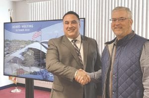 New Bishop Airport Director Nino Sapone, left, with Win Cooper, chairman of the Bishop International Airport Authority. Photo provided