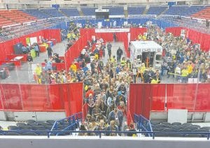 More than 3,000 high school students from 45 schools flooded the MiCareerQuest expo hosted by GST Michigan Works. Photo by Jaime Ratliff