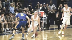 Nick Waterworth, shown here playing for Goodrich High School last season, will be a freshman this year on the Mott CC men's basketball team. Photo by Brandon Pope