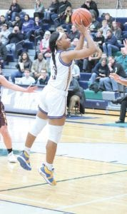 Zaria Mitchner, shown here playing for Kearsley High School last year, will begin her collegiate career with the Mott CC Lady Bears this season. Photo by Kylee Richardson