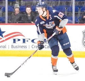 Flint's Ty Dellandrea scored twice during Saturday's 4-1 win over the Guelph Storm. Photo by Todd Boone/Flint Firebirds