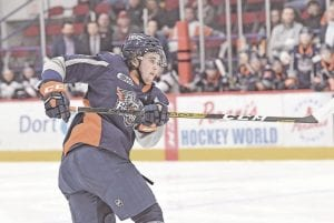 Flint's Tyler Tucker scored the first goal in Saturday's 5-3 win over the Kitchener Rangers. Photo by Todd Boone/Flint Firebirds