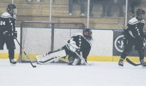 The Pride's Gavin Powers has been steady in goal for the Flushing- Swartz Creek- Goodrich co-op hockey team this season. Photo by Brandon Pope