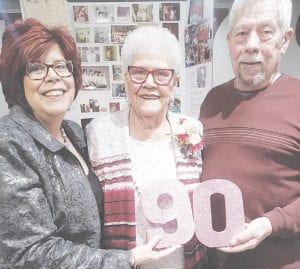 Sally Szigety, with daughter Sue Silverthorne and son Gary Pray, at her 90th birthday party Saturday at the VFW.