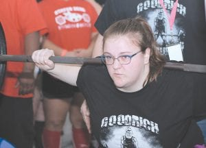 Goodrich's Willow Tetmeyer, defending state champ last year, broke four state records at the state powerlifting meet at North Branch Sunday morning. Photo by Lisa Paine