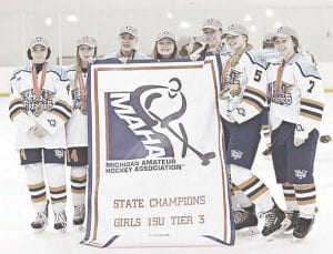 The Flint Lady Jr. Firebirds pose for a photo following their state-championship victory on March. 1. Photo provided