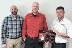 Left: Goyette Mechanical Technician AJ Jenrow (center) is presented with the 2019 Greg Monzo Award for Outstanding Residential Service. Presenting the award are Goyette Mechanical General Manager Leif Johnson (left) and Service Supervisor Chris Carrell (right).