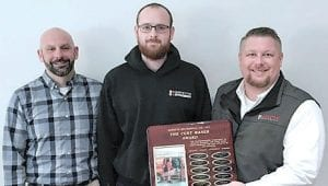 Left: Goyette Mechanical Technician Jake Mudge is presented with the 2019 Curt Maser Award for Excellence in Customer Service. Presenting the award are Goyette Mechanical General Manager Leif Johnson (left) and Service Supervisor Chad Drennan (right)
