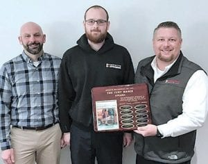 Above: Goyette Mechanical Technician Jake Mudge is presented with the 2019 Curt Maser Award for Excellence in Customer Service. Presenting the award are Goyette Mechanical General Manager Leif Johnson (left) and Service Supervisor Chad Drennan (right)