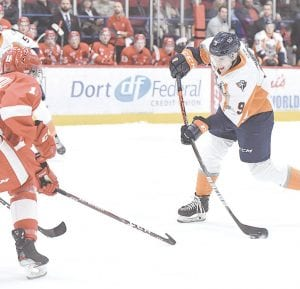 Flint's Jack Phibbs scored the only Firebirds' goal during a 4-1 loss at the Sault Ste. Marie Greyhounds on Wednesday. Photo by Todd Boone/Flint Firebirds