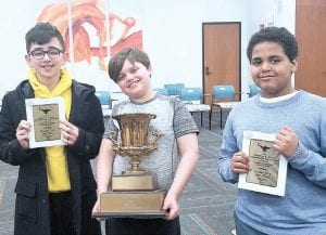 5-8 Grade Champions (l-r): Hashem Jafari, Aaron Pierce, Aston Black Photos provided