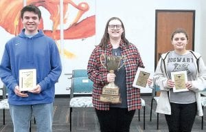 9-12 Grade Champions (l-r): Michael Benko, Lily Zuber, Kaden Bredow