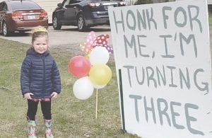 From honking horns to a surprise parade, Ellis Phelps celebrated her 3rd birthday in grand fashion Saturday. Courtesy photo