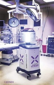 Hurley Medical Center uses the LightStrike pulsed xenon disinfection robot to disinfect a typical patient or procedure room in fifteen minutes