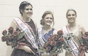Miss Davison 2019 Sophia Biazza, center, with her court, Grace White, left, and Emily Moriartey, right, will continue to hold their titles this year with the cancellation of the 2020 pageant until next year. File photo