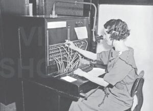 An example of an early telephone switchboard. Photos courtesy of the Burton Area Historical Society