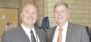 Matt Shanafelt (left) with retired FCS Superintendent Tim Stein (right) Photo by Ben Gagnon