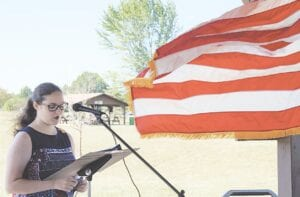 Moriah Brady was the guest speaker at the Daughters of the American Revolution meeting. Courtesy photos