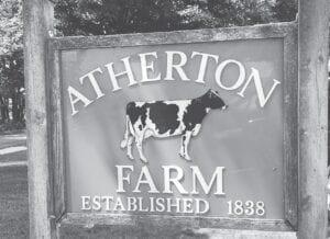 The sign designating the original Atherton Farm. Photos courtesy of the Burton Area Historical Society
