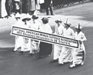 A photo of a Women's Suffrage March from a century ago. Photo courtesy of the Burton Area Historical Society
