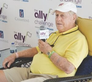Jack Nicklaus speaking with the media. Photo by Ben Gagnon