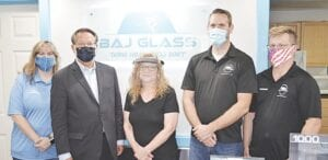 Sen. Peters with staff from BAJ Glass.