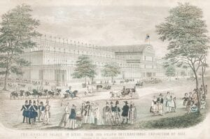 The Crystal Palace in Hyde Park for the Grand International Exhibit of 1861. Photo courtesy of the Burton Area Historical Society