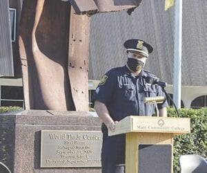 MCC security officer Eric Rodgers delivering remarks at the ceremony. Photo by Ben Gagnon