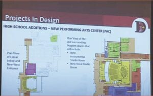 This drawing shows diagrams of the new Performing Arts Center planned at Davison High School. Photo from DTV News