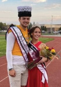 The 2020 Davison Homecoming King and Queen were crowned after the parade, Oct. 9. They were seniors Brendan Sullivan and Mallory Morton. Mr. Congeniality was Parker Arnold and Miss Congeniality is Regan Snyder. Photo courtesy of Davison Community Schools