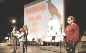 "FHS theatre students preparing with onstage readings of ""Shuddersome: Tales of Poe."" Photo provided"