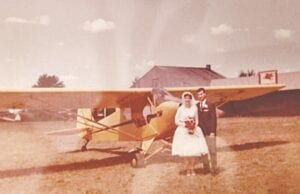 Mona's friend Sadonna's wedding at the Clio airport more than 50 years ago. Photo provided